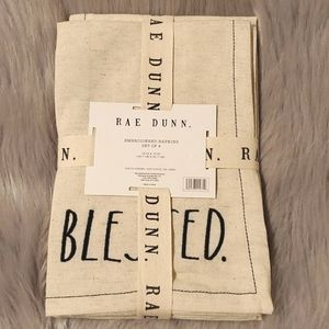 Rae Dunn Embroidered Napkins Blessed